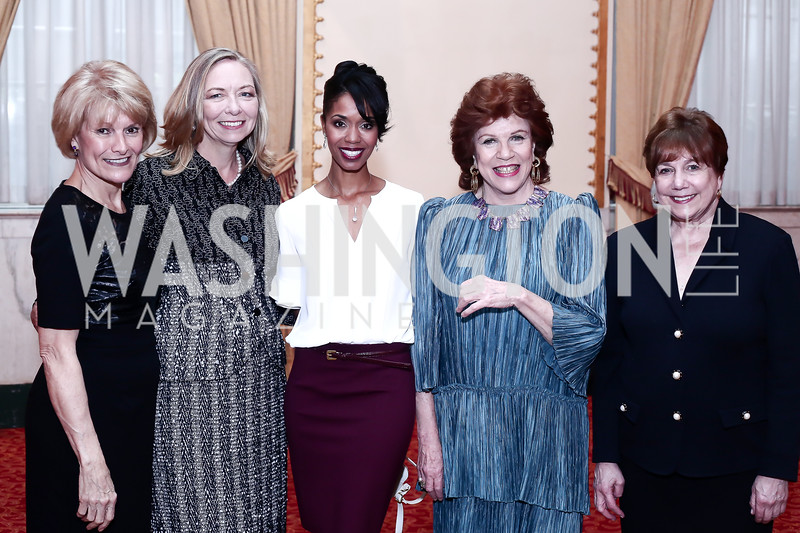 NWHM President Joan Wages, Board Chair Susan Whiting, 2016 Honorees Christine Walevska, Aesha Ash, and Former Sec. of Agriculture Ann Veneman. Photo by Tony Powell. 2016 Women Making History Awards. Mayflower Hotel. March 14, 2016