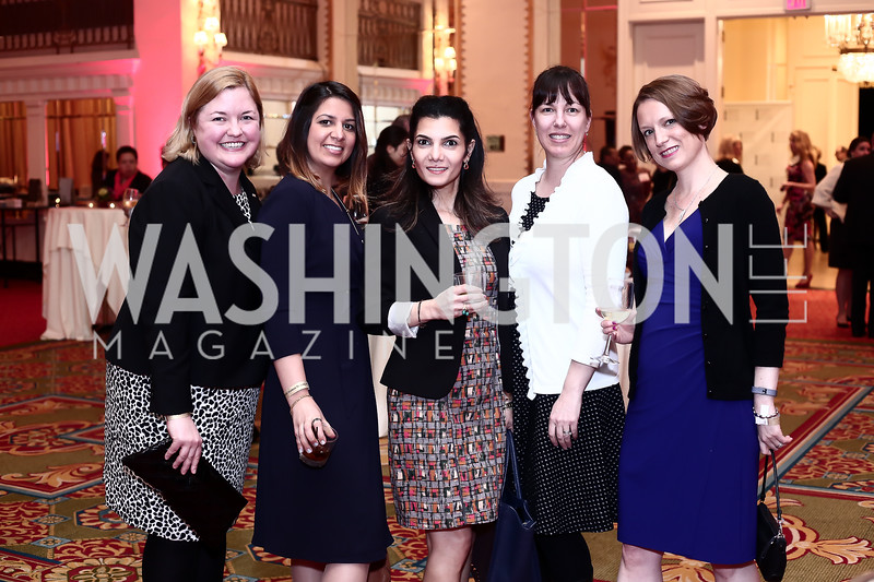 Shannon Graving, Ban Hameed, Tona Rashad, Sybil Strimbu, Megan Stull. Photo by Tony Powell. 2016 Women Making History Awards. Mayflower Hotel. March 14, 2016