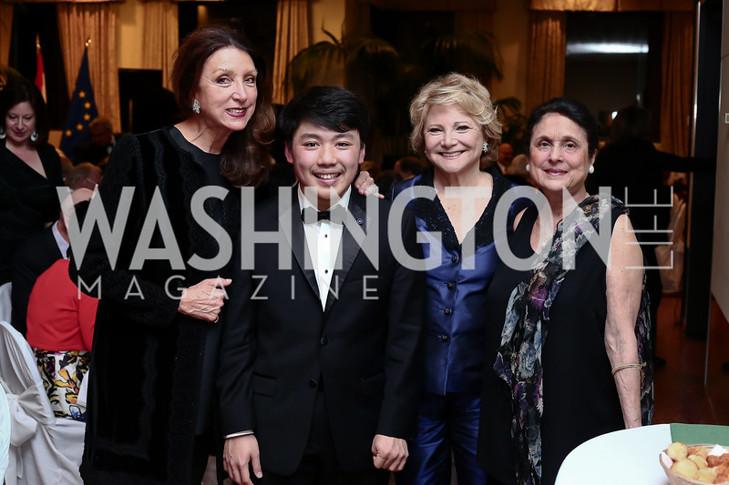 Aniko Gaal Schott, George Li, Mary Mochary, Susan Wadsworth. Photo by Tony Powell. 2016 Young Concert Artists Gala. Embassy of Hungary. April 8, 2016