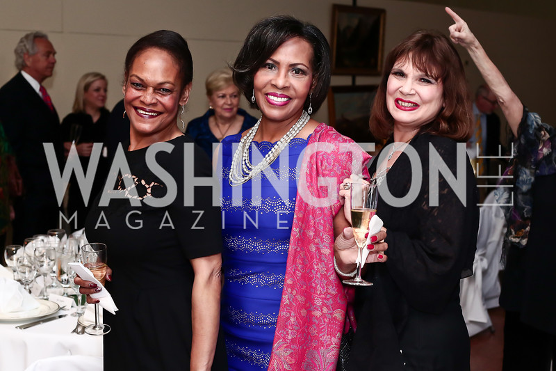 Mornita Dunson-Coleman, Carmen Shippy, Esther Petrilli-Massey. Photo by Tony Powell. 2016 Young Concert Artists Gala. Embassy of Hungary. April 8, 2016