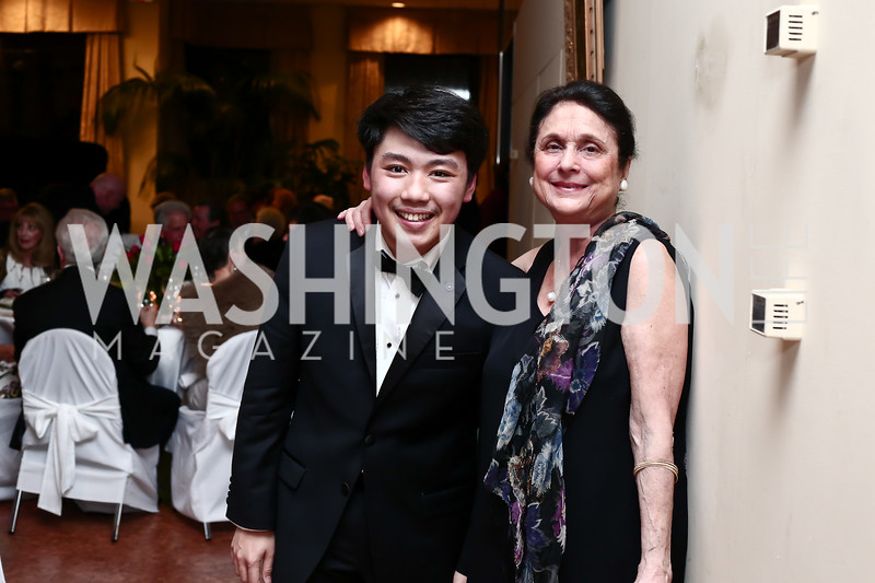 George Li, Susan Wadsworth. Photo by Tony Powell. 2016 Young Concert Artists Gala. Embassy of Hungary. April 8, 2016