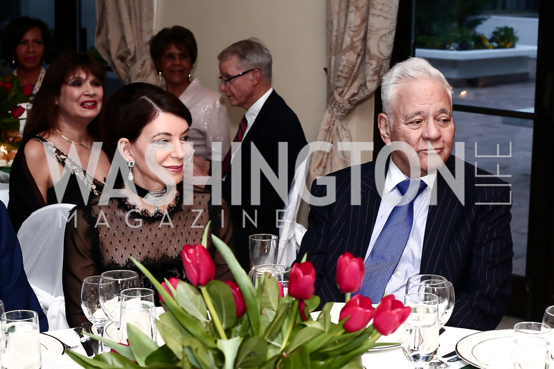 JoAnn Mason, Former President of Bolivia Gonzalo Sanchez de Losada. Photo by Tony Powell. 2016 Young Concert Artists Gala. Embassy of Hungary. April 8, 2016