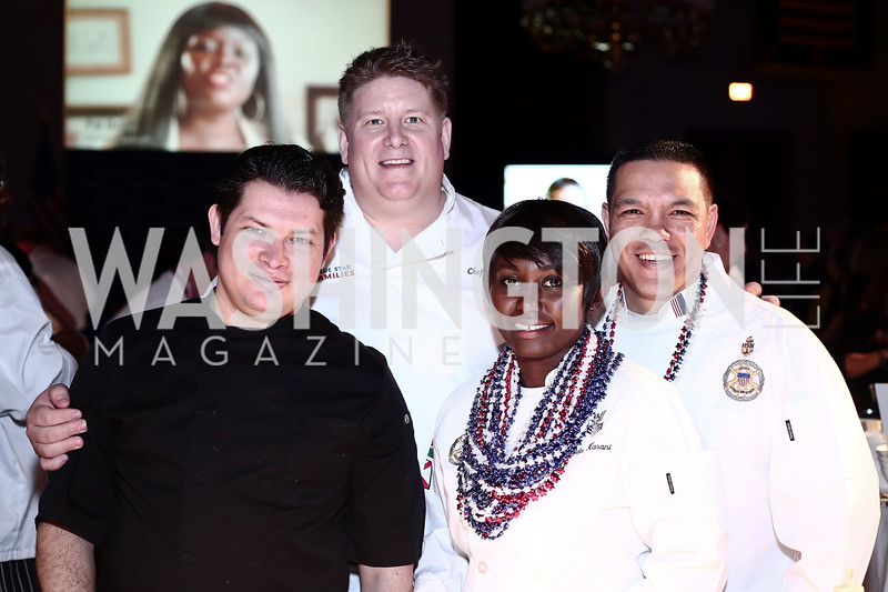 Rony Osorio, Chef Chros Clime, CS1 Frida Karani, Senior Chief Wes Tavares. Photo by Tony Powell. 6th Annual Blue Star Neighbors Gala. Chamber of Commerce. April 7, 2016