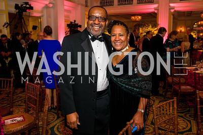 Kojo Nnamdi, Caryn Mathes. Photo by Alfredo Flores. A Celebration of Diane Rehm. The Willard Intercontinental Hotel. November 10, 2016