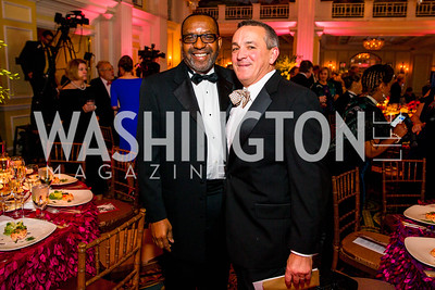 Kojo Nnamdi, Jonathan Smith. Photo by Alfredo Flores. A Celebration of Diane Rehm. The Willard Intercontinental Hotel. November 10, 2016