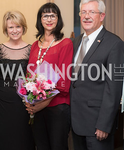 Liz Klass, Anita Dahinden, Martin Dahinden,, A-May-Zing Spring Gala, at the Residence of Swiss Ambassador , THIS for Diplomats, May 6, 2016.  Photo by Ben Droz.