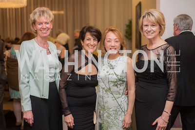 Tina Bailem, Joan Keston, Sachiko Kuno, Liz Klass, A-May-Zing Spring Gala, at the Residence of Swiss Ambassador , THIS for Diplomats, May 6, 2016.  Photo by Ben Droz.