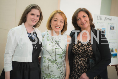 Karina Burger, Dr Sachiko Kuno and Danielle Reed, A-May-Zing Spring Gala, at the Residence of Swiss Ambassador , THIS for Diplomats, May 6, 2016.  Photo by Ben Droz.