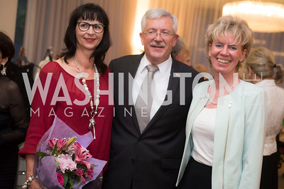Anita Dahinden, Martin Dahinden, Tina Bailem, A-May-Zing Spring Gala, at the Residence of Swiss Ambassador , THIS for Diplomats, May 6, 2016.  Photo by Ben Droz.