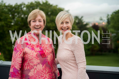 Nancy Regan and Christine Linsley, A-May-Zing Spring Gala, at the Residence of Swiss Ambassador , THIS for Diplomats, May 6, 2016.  Photo by Ben Droz.