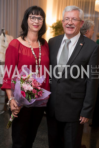 Anita Dahinden and His Excellency Martin Dahinden, A-May-Zing Spring Gala, at the Residence of Swiss Ambassador , THIS for Diplomats, May 6, 2016.  Photo by Ben Droz.