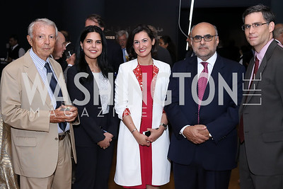 David Ottaway, Haifa Alghaith, Arwa Al-Munajjed, Nail Al-Jubeir, Michael Donnelly. Photo by Tony Powell. Ahmed Mater Art Opening. Freer Sackler. September 15, 2016