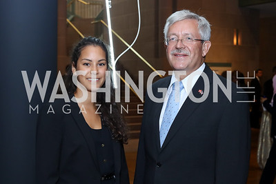 Irina Ibrahim, Switzerland Amb. Martin Dahinden. Photo by Tony Powell. Ahmed Mater Art Opening. Freer Sackler. September 15, 2016