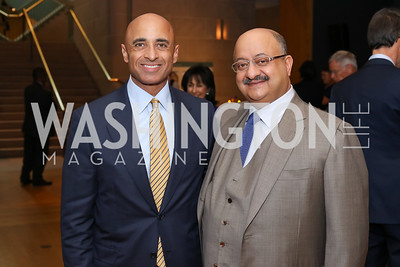 UAE Amb. Yousef Al Otaiba, Saudi Arabia Amb. Abdullah Al Saud. Photo by Tony Powell. Ahmed Mater Art Opening. Freer Sackler. September 15, 2016