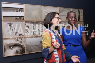 Dannah Al Jarbou, Tina Kadama. Photo by Tony Powell. Ahmed Mater Art Opening. Freer Sackler. September 15, 2016