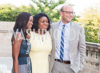 Rama Toure (Embassy of Monaco); White House Social Secretary Deesha Dyer; Terence Crouch (Embassy of Monaco). Photo by Erin Schaff. 2016 Annual Social Secretaries Cocktail Reception hosted by White House Social Secretary, Deesha Dyer. Meridian International Center. July 7, 2016.