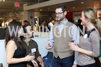 Liz Parker, Artist Nate Lewis, Artist Adam Hager, Emily Hoxworth. Photo by Tony Powell. Art Night 2016. Hickok Cole Architects. November 3, 2016