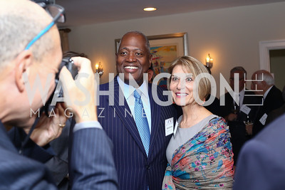 Harry Johnson, Gina Steinway. Photo by Tony Powell. BPC Pre-election Prediction Party. Glickman Residence. June 9, 2016