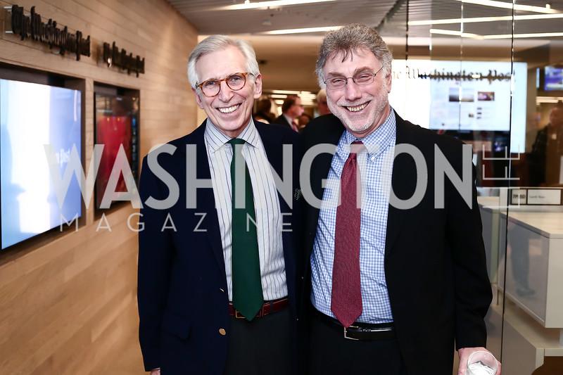 Peter Osnos, Martin Baron. Photo by Tony Powell. Bradlee Story Conference Room Dedication. Washington Post. January 27, 2016