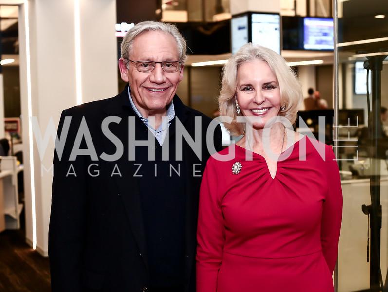 Bob Woodward, Sally Quinn. Photo by Tony Powell. Bradlee Story Conference Room Dedication. Washington Post. January 27, 2016