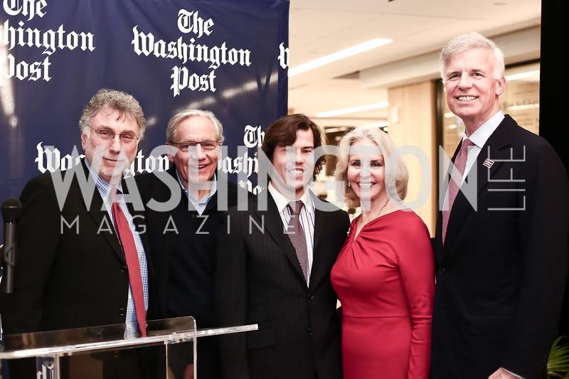 Martin Baron, Bob Woodward, Quinn Bradlee, Sally Quinn, Fred Ryan. Photo by Tony Powell. Bradlee Story Conference Room Dedication. Washington Post. January 27, 2016