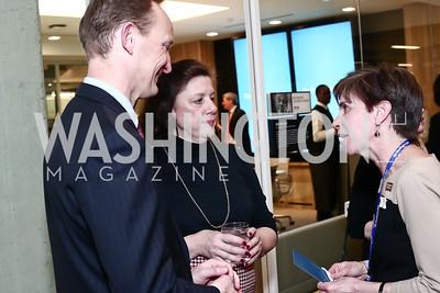 Steve Gibson, Marina Bradlee Murdoch, Tracy Grant. Photo by Tony Powell. Bradlee Story Conference Room Dedication. Washington Post. January 27, 2016