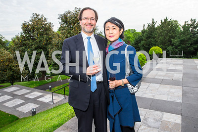 Jeffrey Cunard, Mariko Ikehara. Photo by Alfredo Flores. Berliner Salon Book Party. German Ambassador's Residence. May 10, 2016