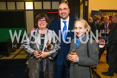 Stacie Haswell Arpey, Michael Arpey, Gina Cappo Pack. Photo by Alfredo Flores. Berliner Salon Book Party. German Ambassador's Residence