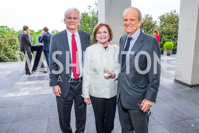 Shelby Coffey III, Elizabeth Stevens, George Stevens Jr. Photo by Alfredo Flores. Berliner Salon Book Party. German Ambassador's Residence. May 10, 2016