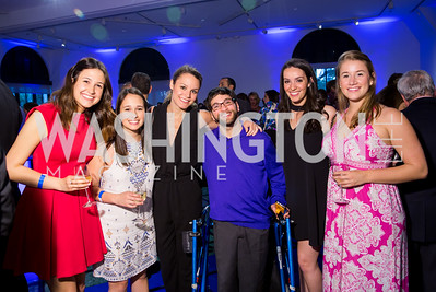 Christine Rice, Dani Gaines, Hannah Shapiro, Aaron Kaufman, Allison Weinstock, Keri Enriquez. Photo by Erin Schaff. 2016 Best Buddies Capital Region Prom. Carnegie Library. May 13, 2016.