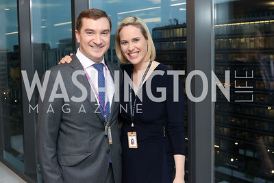 Bloomberg Govt. Relations'Josh Eastright, DC Bureau Chief Megan Murphy. Photo by Tony Powell. Bloomberg DC Bureau Open House. October 27, 2016