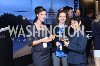Chloe Whiteaker, Michelle Jamrisko, Sho Chandra. Photo by Tony Powell. Bloomberg DC Bureau Open House. October 27, 2016