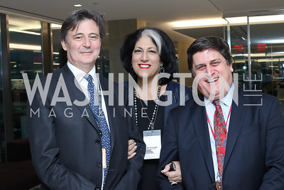 Bloomberg DC Editor-in-Chief John Micklethwait, Tammy Haddad, Managing Editor Craig Gordon. Photo by Tony Powell. Bloomberg DC Bureau Open House. October 27, 2016