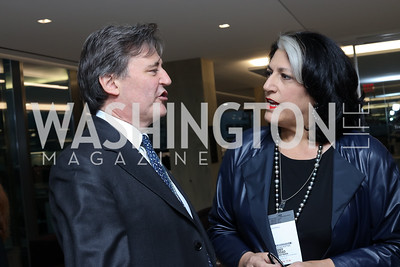 Bloomberg DC Editor-in-Chief John Micklethwait, Tammy Haddad. Photo by Tony Powell. Bloomberg DC Bureau Open House. October 27, 2016