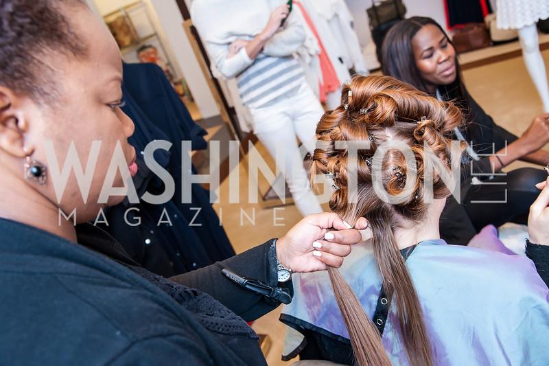 Stylist Shinika Parris, Catherine Pitcher. Photo by Tony Powell. Bloomingdales Fashion Show. April 24, 2016