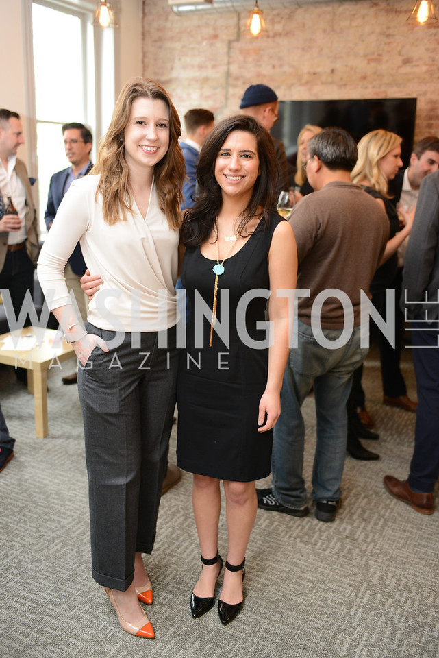 Morgan Gress, Alexandra Golomb, Photo by Ben Droz. White House Correspondents' House of Code Brunch hosted by Buzzfeed and App Developers Alliance. Kinship Restaurant. April 30, 2016.
