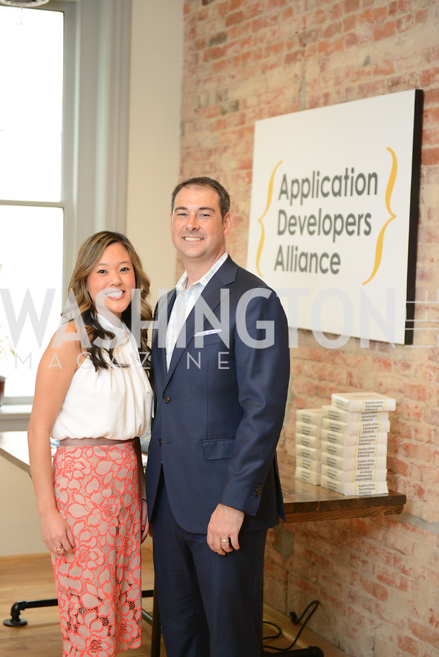 Laura Bolos, Jake Ward. Photo by Ben Droz. White House Correspondents' House of Code Brunch hosted by Buzzfeed and App Developers Alliance. Kinship Restaurant. April 30, 2016.