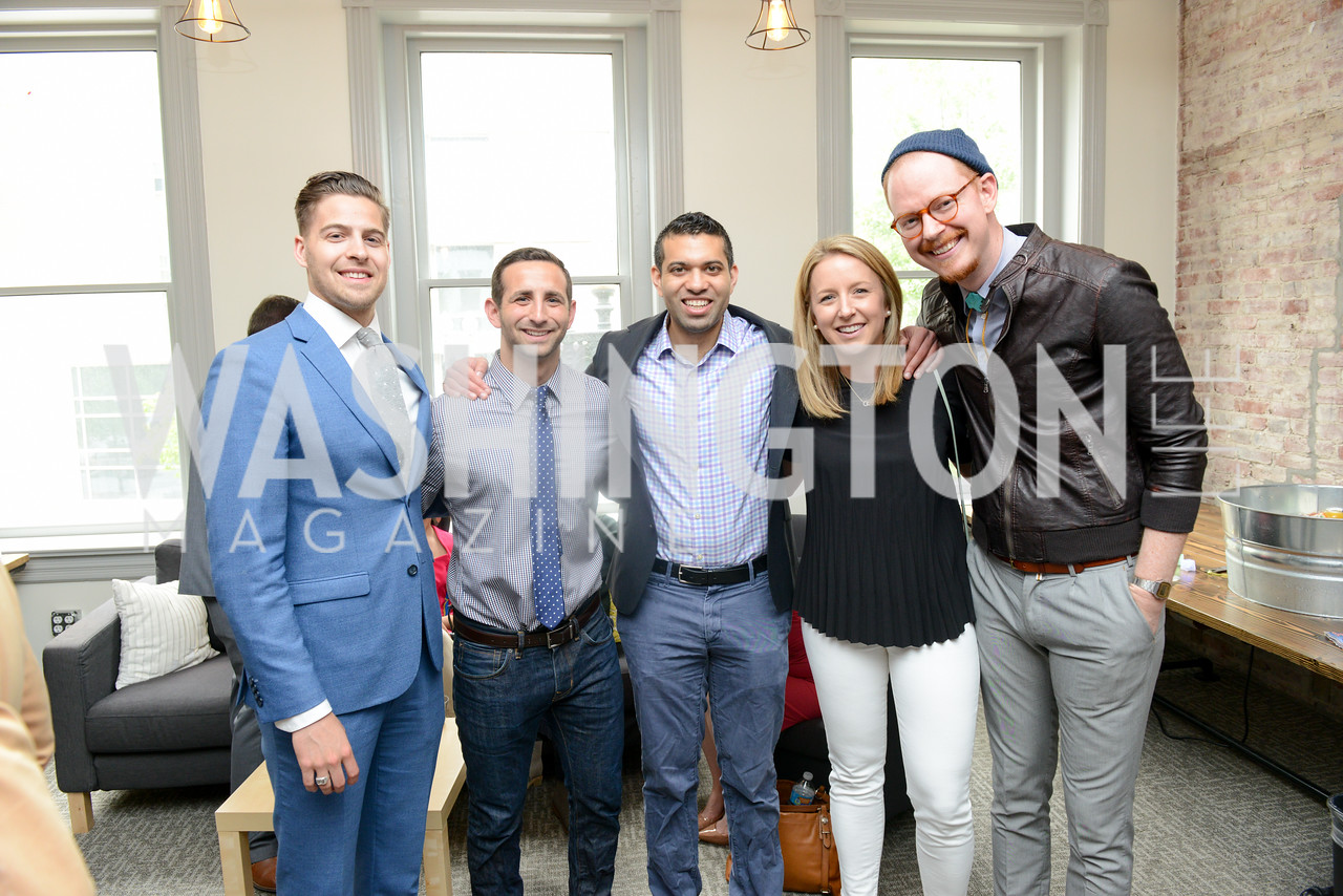 Jonathan Smolley, Zach Bronson, Ajay Kori, Andrea Harris, Eric Schulze. Photo by Ben Droz. White House Correspondents' House of Code Brunch hosted by Buzzfeed and App Developers Alliance. Kinship Restaurant. April 30, 2016.