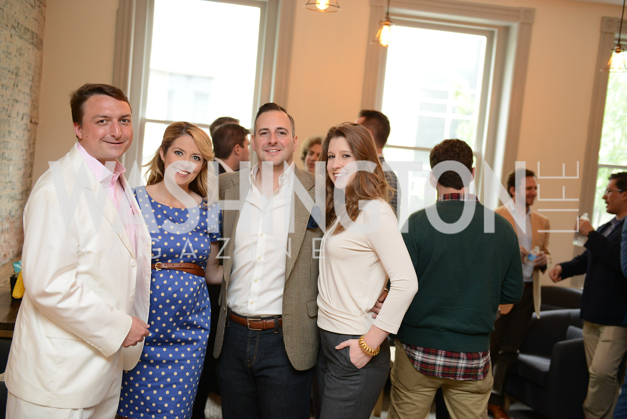 Chris Brown, Meghan Hughes, Brian Johnson, Morgan Gress, Photo by Ben Droz. White House Correspondents' House of Code Brunch hosted by Buzzfeed and App Developers Alliance. Kinship Restaurant. April 30, 2016.