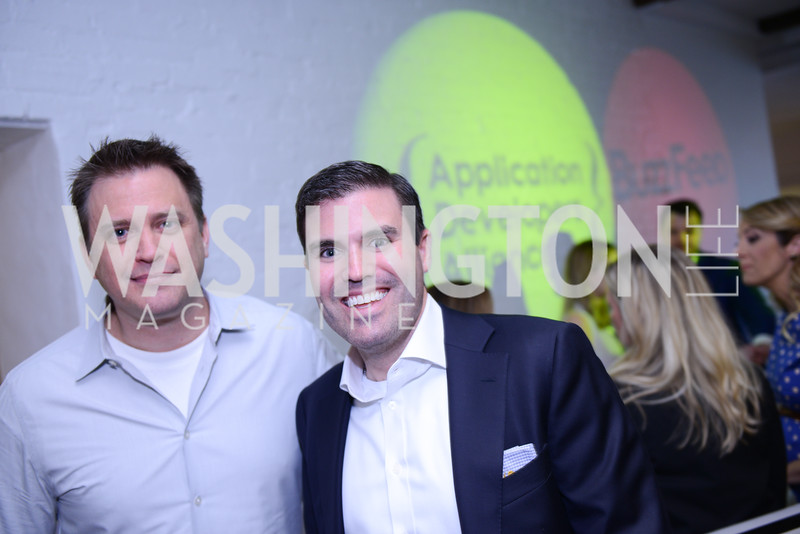 Todd Moore, Geoff Lane. Photo by Ben Droz. White House Correspondents' House of Code Brunch hosted by Buzzfeed and App Developers Alliance. Kinship Restaurant. April 30, 2016.