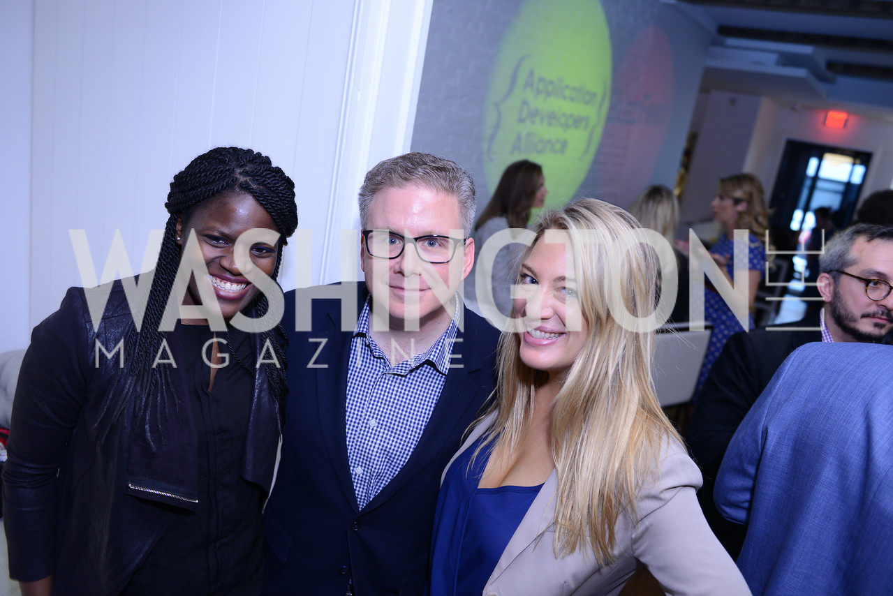 Sade Jimoh, Dan Horowitz, Kendra Kojcsich. Photo by Ben Droz. White House Correspondents' House of Code Brunch hosted by Buzzfeed and App Developers Alliance. Kinship Restaurant. April 30, 2016.