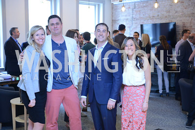 Chelsea and Kevin Koski, Jake Ward, Laura Bolos. Photo by Ben Droz. White House Correspondents' House of Code Brunch hosted by Buzzfeed and App Developers Alliance. Kinship Restaurant. April 30, 2016.