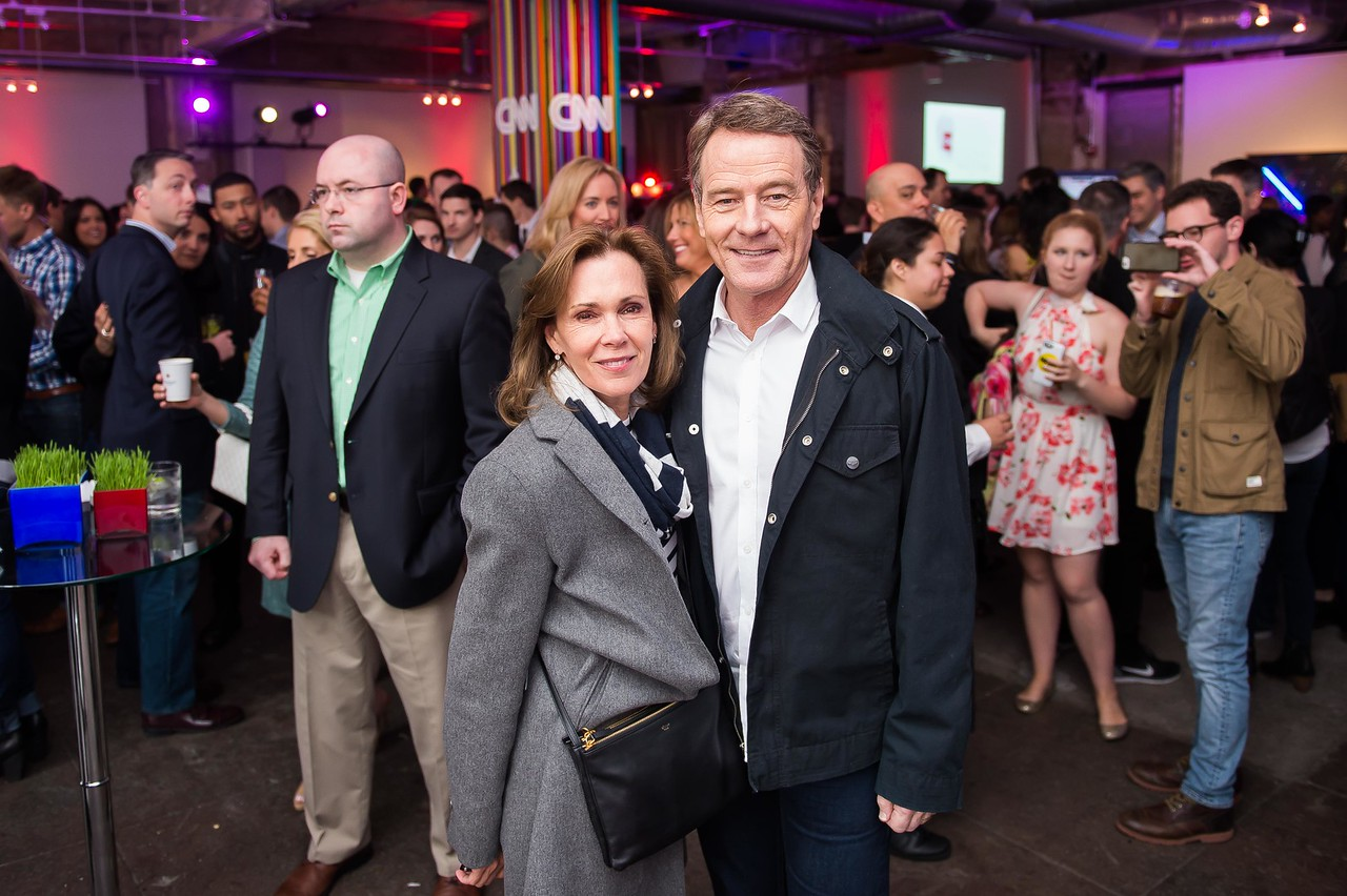 Robin Dearden and Bryan Cranston. CNN Political Hangover. Photo by Joy Asico. Long View Gallery. May 1, 2016