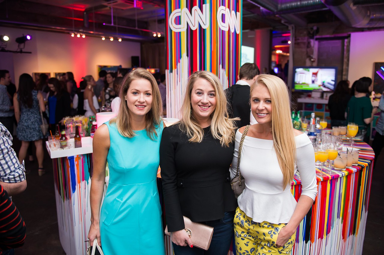 Sasha Simpson, Liz Johnson, Lauren Culbertson. CNN Political Hangover. Photo by Joy Asico. Long View Gallery. May 1, 2016
