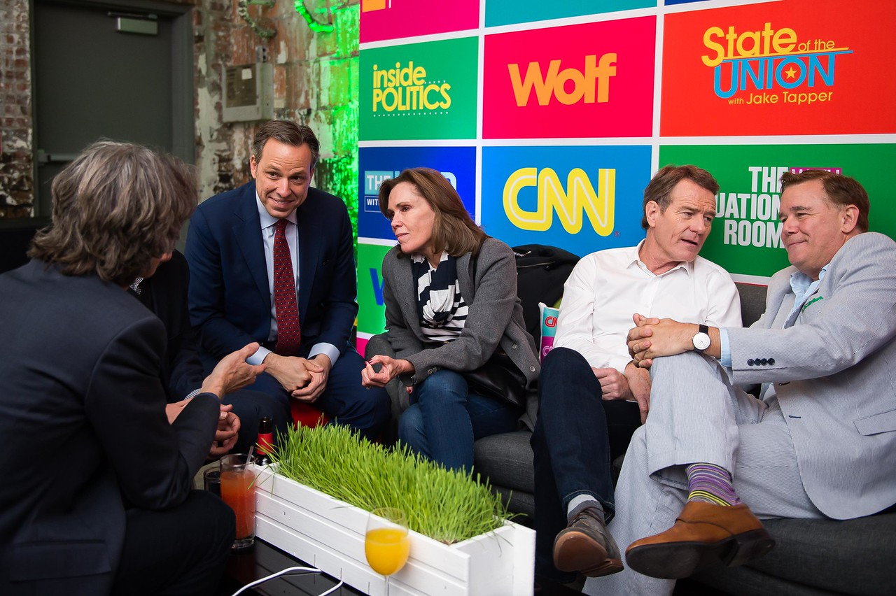 Jake Tapper, Robin Dearden, Bryan Cranston, Spencer Garrett. CNN Political Hangover. Photo by Joy Asico. Long View Gallery. May 1, 2016