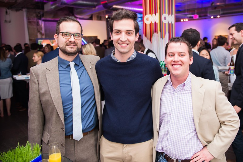 Sean Meloy, Kevin Brunelli, Wade Payson-Denney. CNN Political Hangover. Photo by Joy Asico. Long View Gallery. May 1, 2016