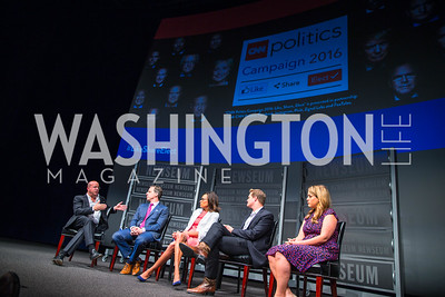 Jeff Zucker, Jake Tapper, Nia-Malika Henderson, Chris Moody, Ashley Codianni. Photo by Alfredo Flores. CNN Politics Campaign 2016 Like Share, Elect. Newseum. April 18, 2016