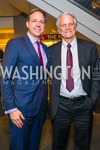 Jake Tapper, Shelby Coffey III. Photo by Alfredo Flores. CNN Politics Campaign 2016 Like Share, Elect. Newseum. April 18, 2016
