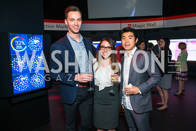 Richard Hudock, Liza Pluto, Greg Chen. Photo by Alfredo Flores. CNN Politics Campaign 2016 Like Share, Elect. Newseum.CR2