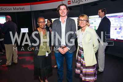 Sharon Shahit, Pete Eskew, Patty Rhule. Photo by Alfredo Flores. CNN Politics Campaign 2016 Like Share, Elect. Newseum. April 18, 2016